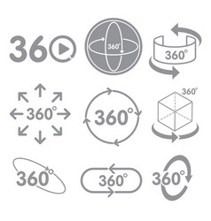 360 degrees view sign icon on the white background vector