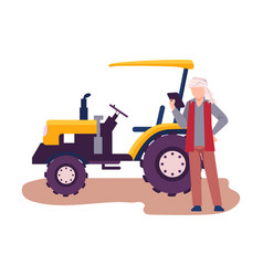 Asian male farmer standing beside tractor machine vector