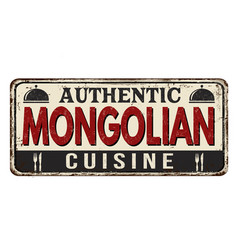 Authentic mongolian cuisine vintage rusty metal vector