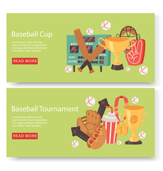 baseball club or tournament set banners flyers vector image