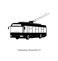 Black silhouette of trolley bus vector image