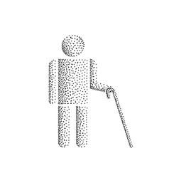 Blind man stick figure vector