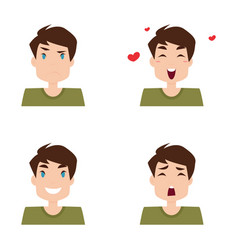 Boy expression faces vector