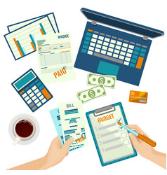 Budget plan human hands and papers vector