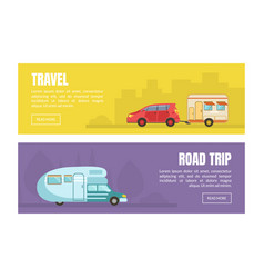 camping van for travelling and relocation web page vector image