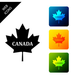 Canadian maple leaf with city name canada icon vector