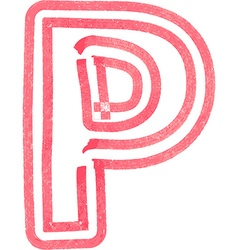 Capital letter P drawing with Red Marker vector image
