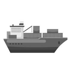 Cargo ship icon gray monochrome style vector image
