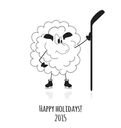 Cartoon sheep on skates vector