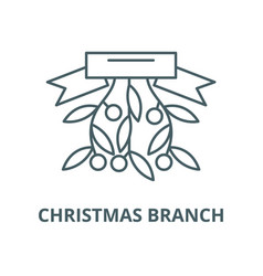 christmas branch line icon christmas vector image