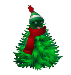 christmas tree with woman face and striped hat vector image