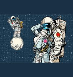 Cosmonauts are dancing romantic date man loves vector
