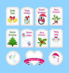 cute cartoon christmas sticker collection vector image
