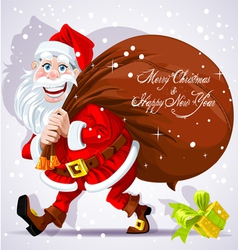 Cute Santa Claus carries a bag of gifts and Happy vector