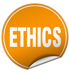 Ethics round orange sticker isolated on white vector