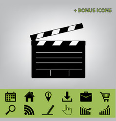 Film clap board cinema sign black icon at vector