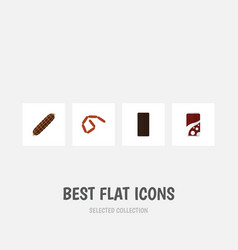flat icon eating set of bratwurst confection vector image
