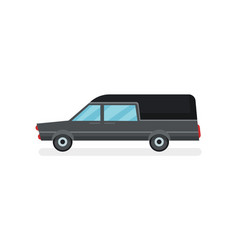 flat icon of black hearse funeral service vector image