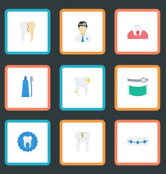 Flat icons orthodontist cleaned toothbrush and vector