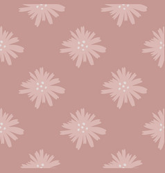 Geometric daisy pattern in doodle style chamomile vector