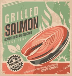 Grilled salmon retro poster design vector
