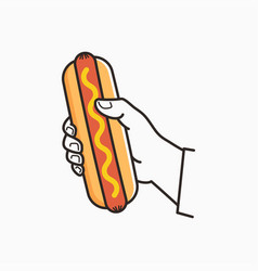 hand hold hotdog male hand holding hot dog vector image