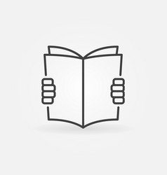 hands holding a book icon vector image