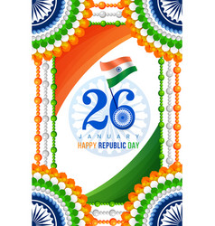 happy republic day indian festival poster vector image
