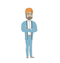 Hindu confident businessman with folded arms vector