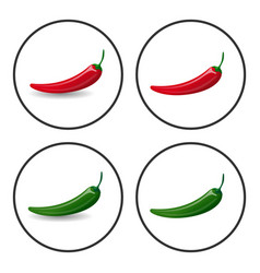 Hot chili peppers icons vector