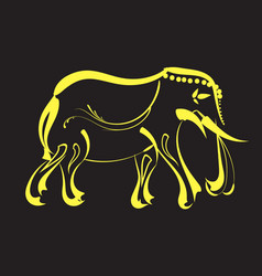 Line yellow gold elephant design vector