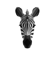 Low poly triangle art zebra head vector