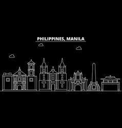 manila silhouette skyline philippines - manila vector image