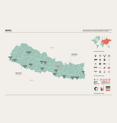 map nepal country map with division cities and vector image