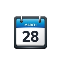 March 28 Calendar icon flat vector