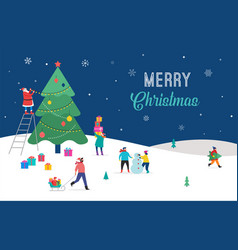 Merry christmas winter scene with a big xmas tree vector