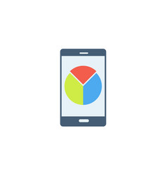 mobile phone with pie chart icon vector image