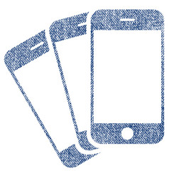 Mobile phones fabric textured icon vector