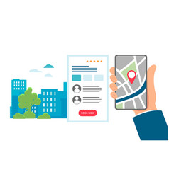 Online hotel booking - hand with mobile phone flat vector