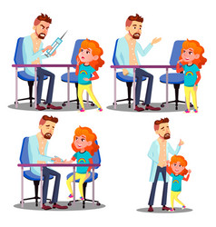pediatrician vaccinating scared crying child girl vector image