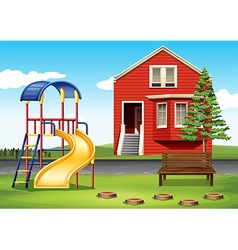Playground in front of the house vector