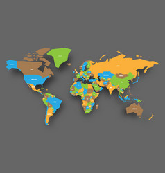 political map of world in four colors of national vector image