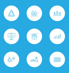 Public skyline icons line style set with wooden vector