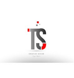 red grey alphabet letter ts t s logo combination vector image