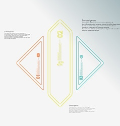 Rhombus shape infographic created from three color vector