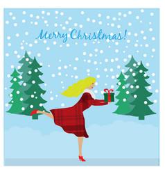 running girl holding christmas gift in hands vector image