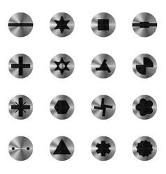 Screwdriver head types set vector