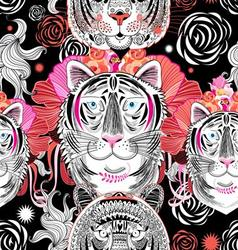 Seamless graphic pattern beautiful portraits tiger vector