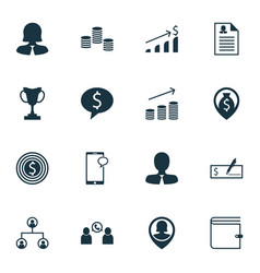 set of 16 hr icons includes wallet phone vector image