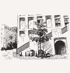 Sketch old dubai heritage city architecture vector
